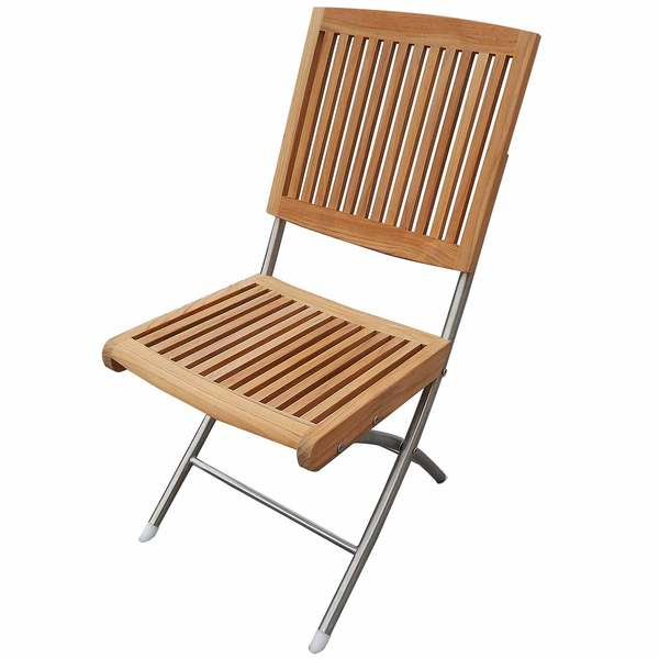 Barnegat Folding Teak Chair with Stainless Steel Legs