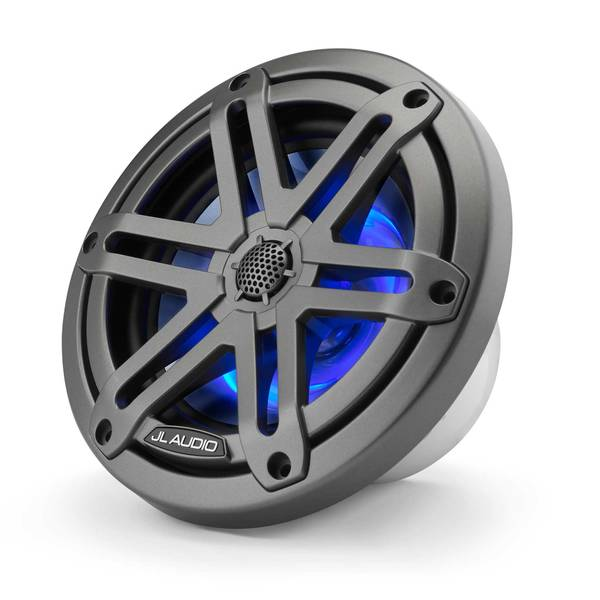 "M3-650X-S-Gm-i 6.5"" Marine Coaxial Speakers, Gunmetal Sport Grilles with RGB LED Lighting"
