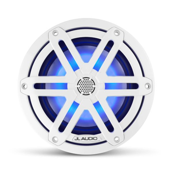"M3-650X-S-Gw-i 6.5"" Marine Coaxial Speakers, White Sport Grilles with RGB LED Lighting"