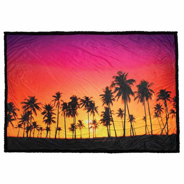 "50"" x 70"" Plush Blanket, Palms Sunset"