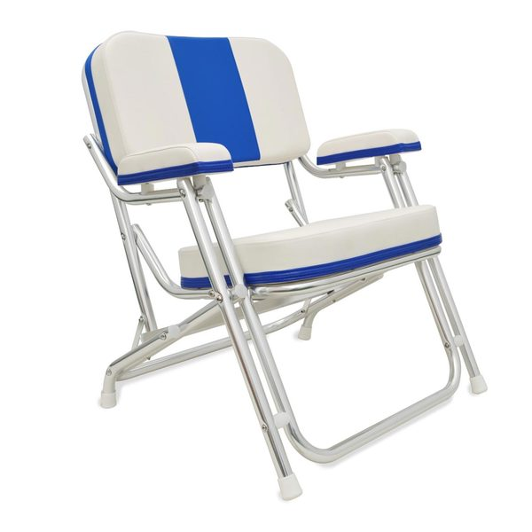 Kingfish Aluminum Folding Deck Chair, Blue