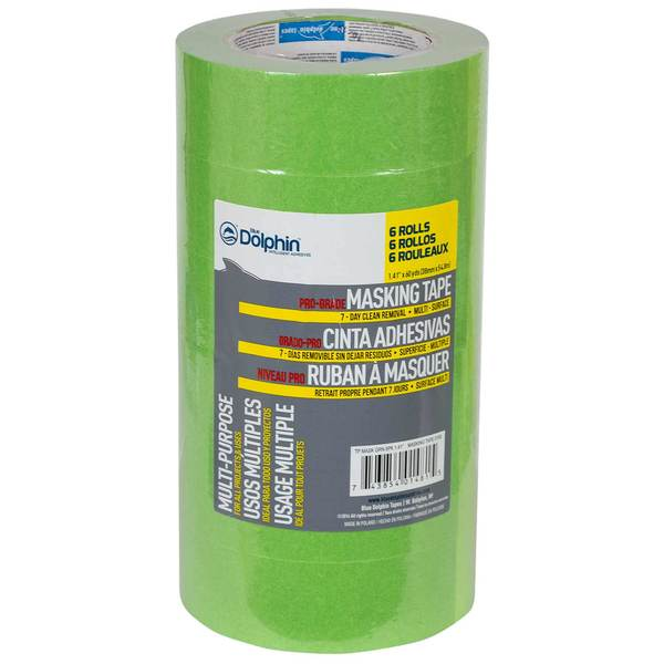 "1 1/2"" Pro-Grade Masking Tape, Green, 6-Pack"