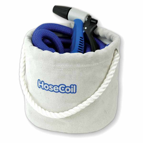 75' Expandable Blue Hose Canvas Bucket Kit with Rubber Tip Nozzle & Quick Release