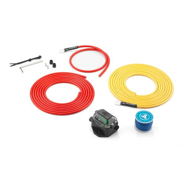 XMD-PCS30A-1-L12: Premium 9 AWG 12V Power Marine Connection Kit, Single Amplifier, Within 12 ft of Battery