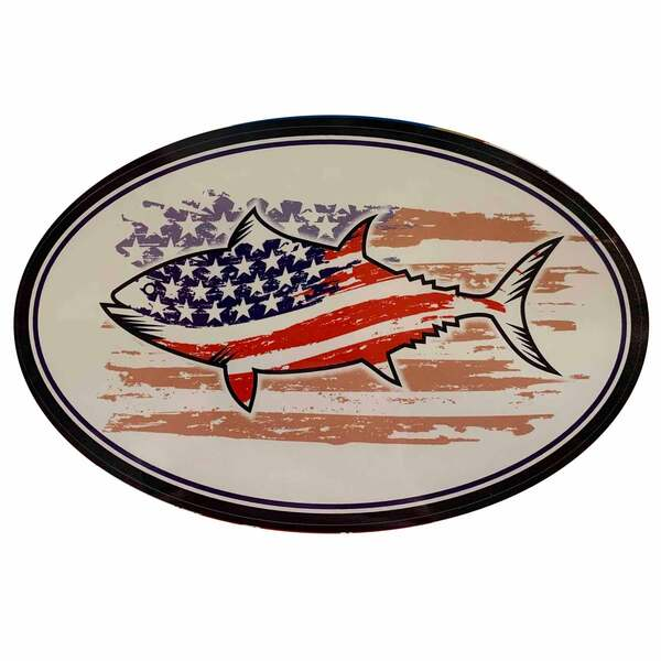 Fish Flag USA Removable/Restickable Boat Sticker