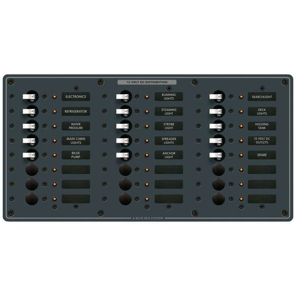 Traditional Metal DC Circuit Breaker Panel, 24-Position