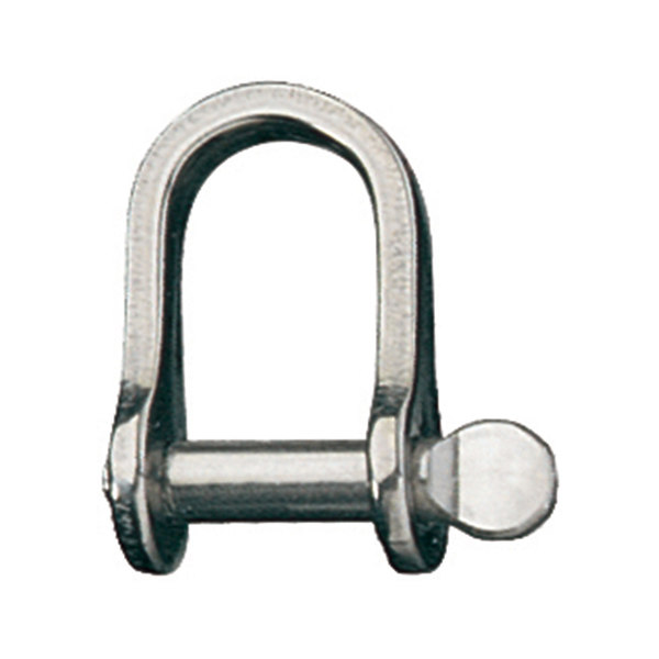 "Stainless Steel Loose Pin ""D"" Shackle with 3/16"" Pin, 23/32"" IW"