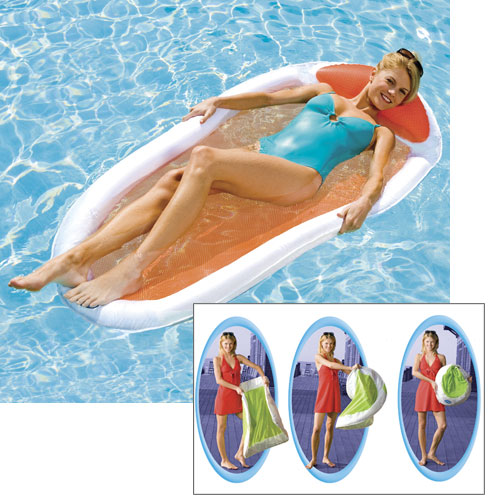 Swimways easy spring floating lounge white orange west for Pool floats design raises questions
