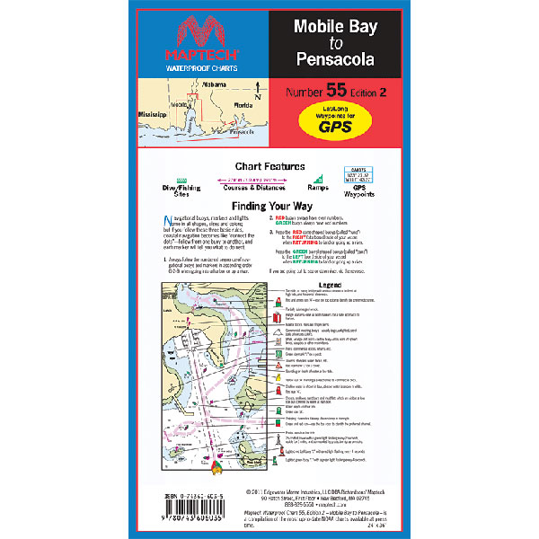 Maptech mobile bay to pensacola waterproof chart west marine