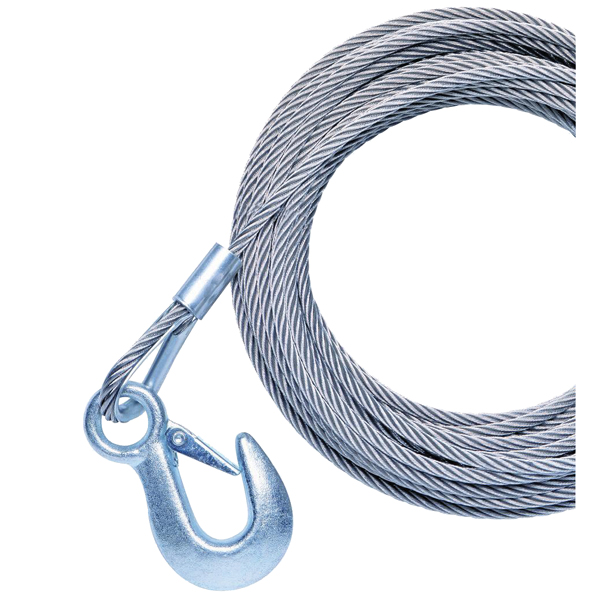 "Galvanzied Winch Replacment Cable with Hook 20'L x 7/32""dia. Fits P77364/P77400 Winches"