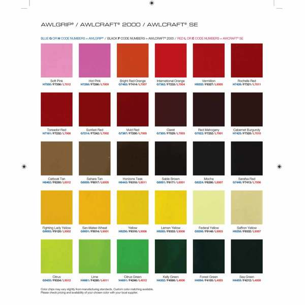 Color Chart for Awlgrip, Awlcraft 2000 and Awlcraft SE