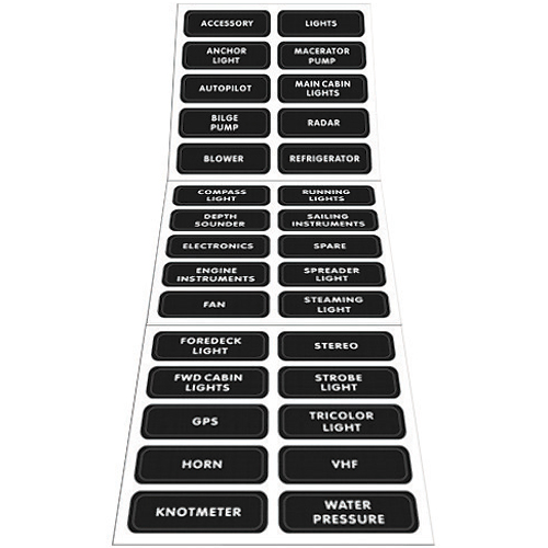 BLUE SEA SYSTEMS Large Format Distribution Panel Labels | West Marine
