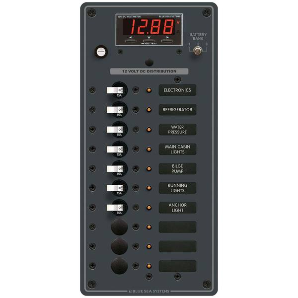 Traditional Metal DC Circuit Breaker Panel with Digital Meter, 10-Position