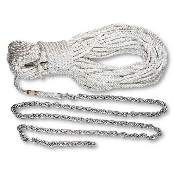 "Pre-Spliced Anchor Rode, 10' of 1/4"" Chain, 150' of 1/2"" Three-Strand Line"