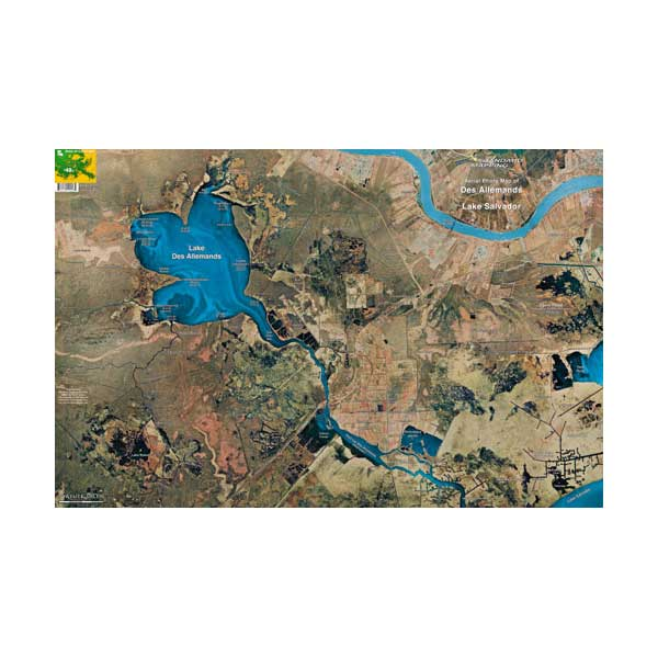 Des Allemands/Lake Salvador, Louisiana Laminated Map