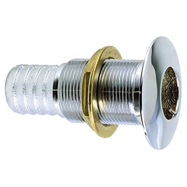 "Chrome-Plated Bronze Thru-Hull Connection for 1"" Hose"