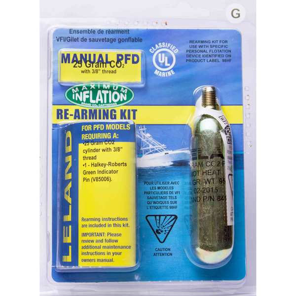 "Inflatable Life Jacket Rearming Kit, Manual, 25 g., 3/8"" Threaded"