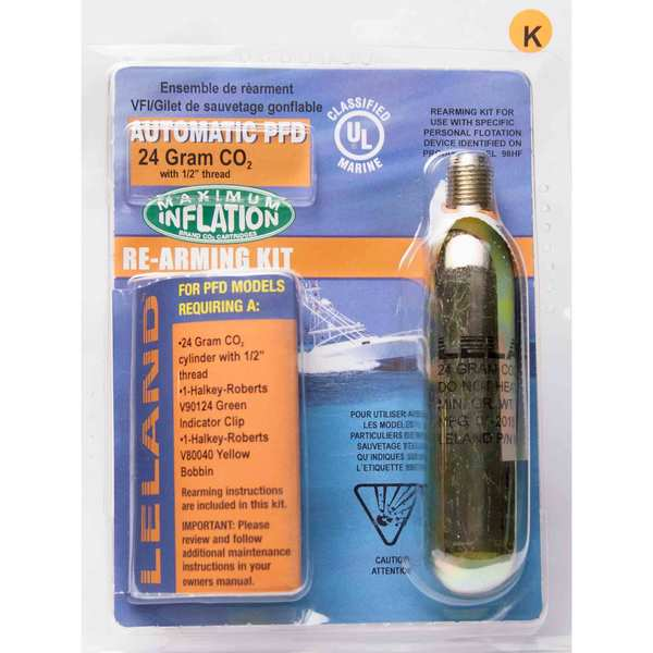 "Inflatable Life Jacket Rearming Kit, Automatic, 24 g., 1/2"" Threaded"