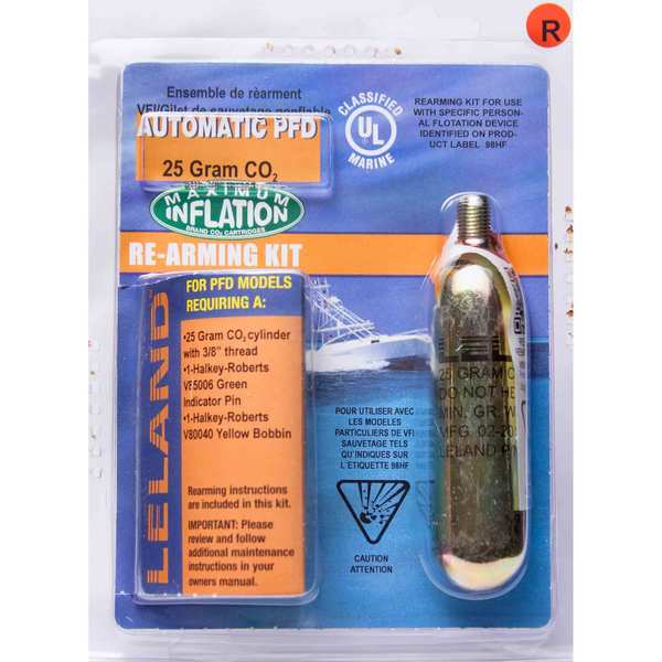 "Inflatable Life Jacket Rearming Kit, Automatic, 25 g., 3/8"" Threaded"