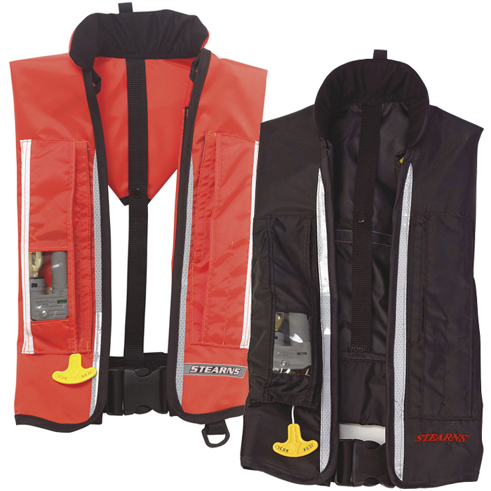 Stearns commercial inflatable life jacket west marine for Inflatable fishing vest