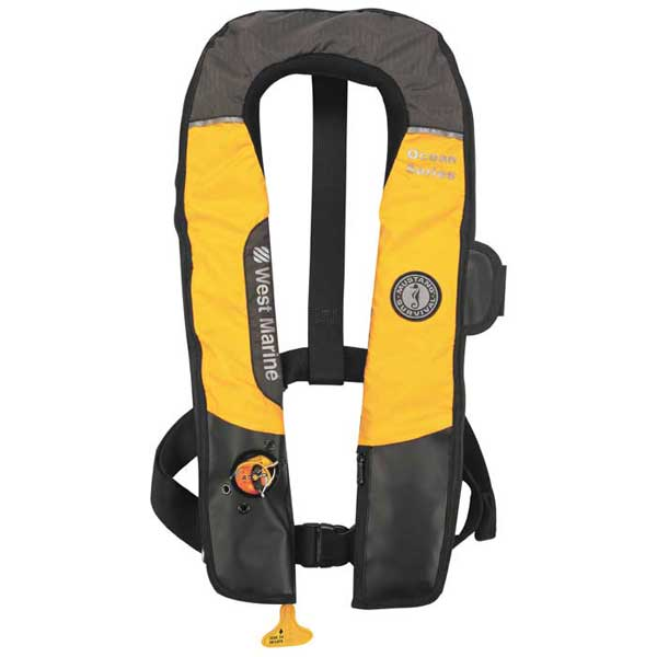 West marine hydrostatic inflatable life vest without for Inflatable fishing vest