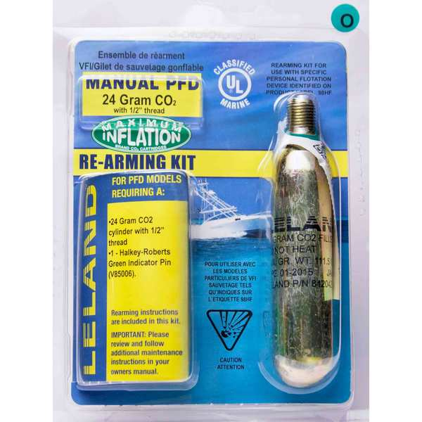 "Inflatable Life Jacket Rearming Kit, Manual, 24 g., 1/2"" Threaded"