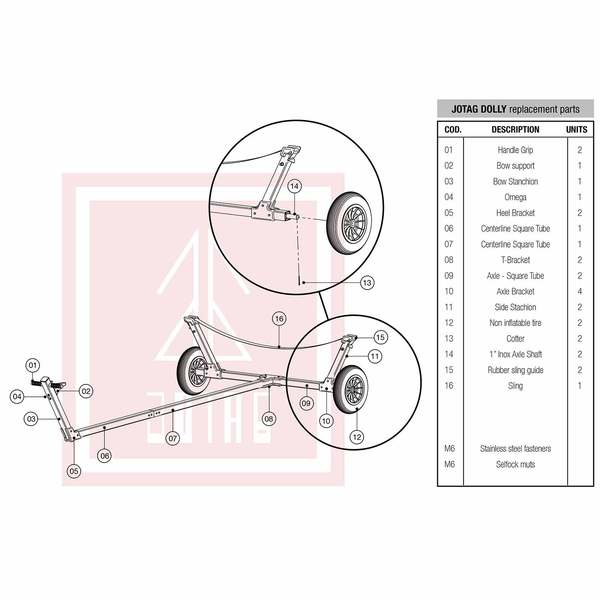 Jotag Replacement Parts For Sunfish Class Sailboat Dolly West Marine