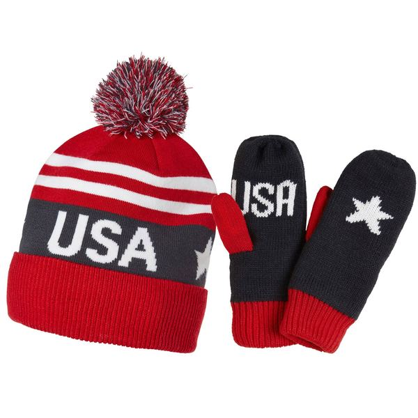 USA Going for the Gold Mitten and Beanie Set