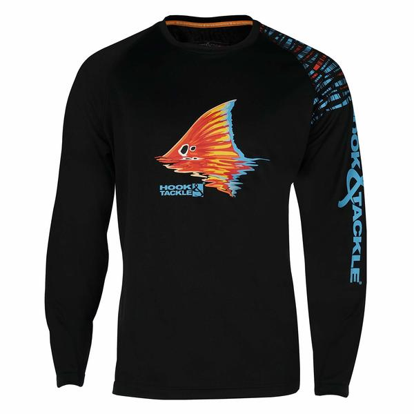 Hook tackle men 39 s cool winds black spot vented fishing for West marine fishing shirts