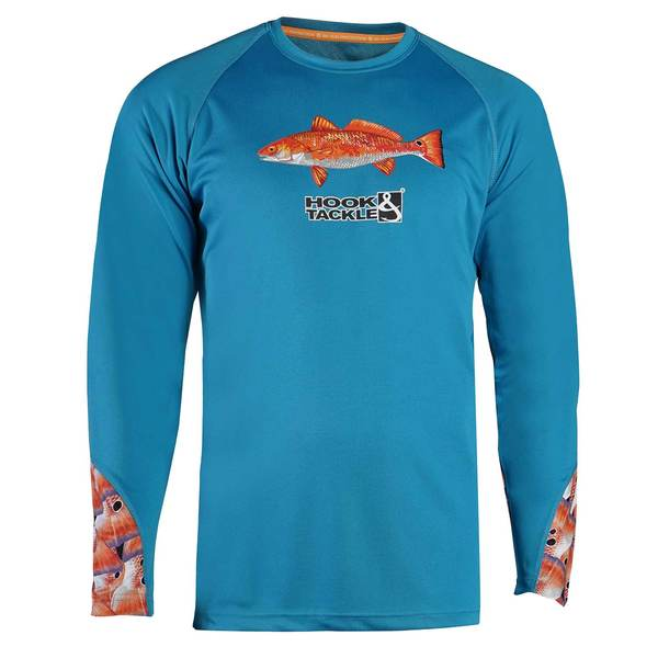 Hook tackle men 39 s cool winds redfish tails vented for West marine fishing shirts