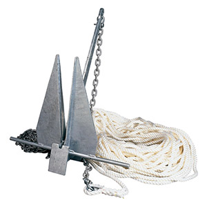 West Marine brand anchor and rode package with Danforth-style fluke anchor