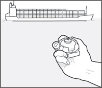 Example of using a hand bearing compass to determine the bearing to a large cargo ship.