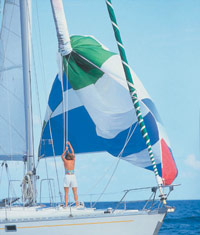 ATN Spinnaker sleeve being used to snuff a spinnaker sail
