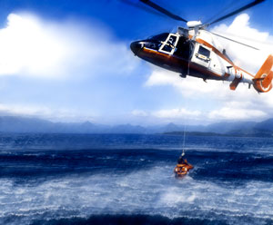 Rescue helicopter over the ocean