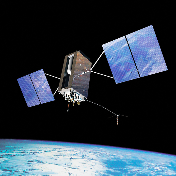 Rendering of a GPS III satellite