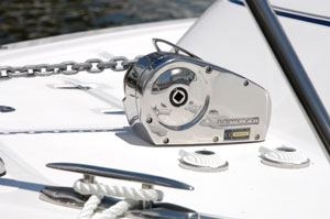 Horizontal windlass installed on foredeck