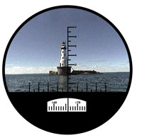 View of a lighthouse through a rangefinder
