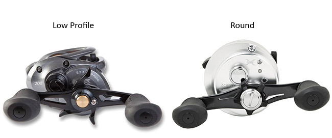 low profile and round baitcasting reels