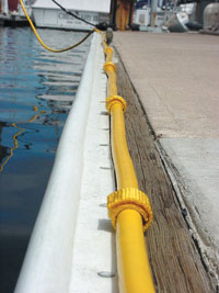 Shore Power Cord secured to dock with straps