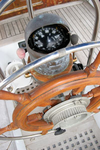 Steering Compass mounted at the helm