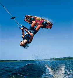 wakeboarding doing a flip