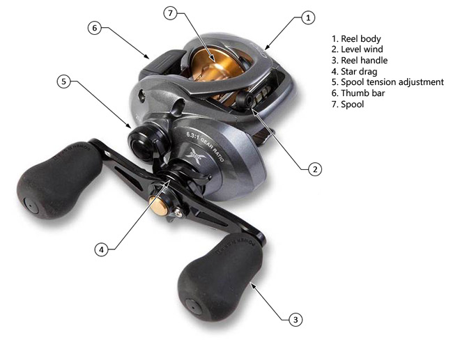 diagram of the parts of a baitcasting reels