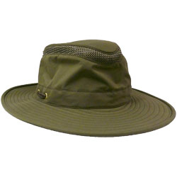 Tilley Airflo Hat Khaki With Olive Under Brim 7 1/4, Boating Technical Hats