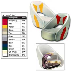 Attwood Full Upholstered Avenir Sport Seat Bolster Seat Off White/gray, Boat Helm & Fishing Seats