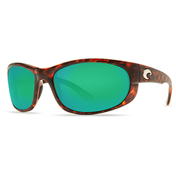 Costa Howler Sunglasses Shiny Tortoise Frames With 400 Green Mirror Lenses, Stylish Boating Sunglasses over $90