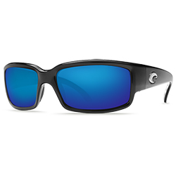 Caballito Sunglasses Shiny Black Frames With Costa 400 Blue Mirror Lenses, Stylish Boating Sunglasses over $90