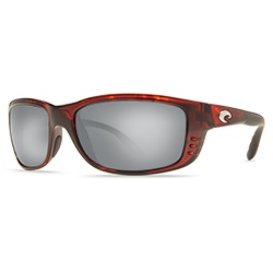 Zane Sunglasses Shiny Tortoise Frames With Costa 580 Silver Mirror Lenses, Stylish Boating Sunglasses over $90