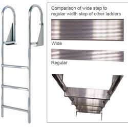 International Dock Aluminum Swing Ladders 3 Step Standard Rung, Dock Boarding Ladders for Boats & Yachts