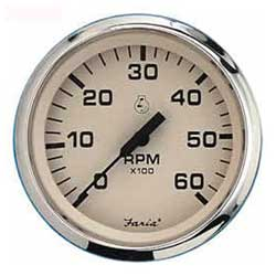 Faria Instruments Tachometer/hourmeter Euro Beige Stainless Steel 7000 Universal For All Outboard, Instrumentation for Boats & Yachts