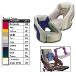 Attwood Fully Upholstere Avenir Seat Bolster Seat Off White/green, Boat Helm & Fishing Seats